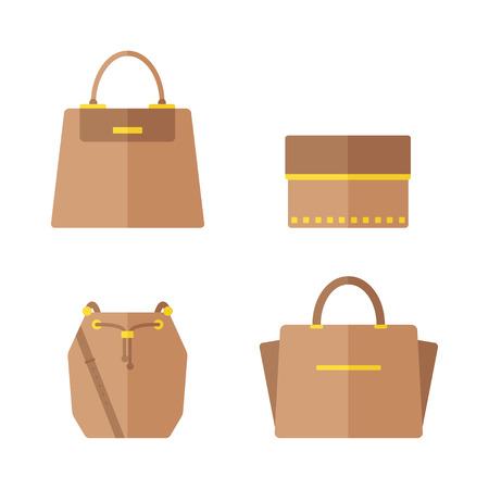 バッグのアイコンが白い背景で隔離。女性の袋セット。フラット ベクトル イラスト デザイン。