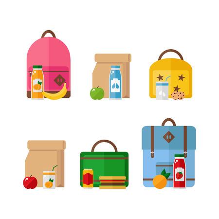 白い背景に分離された学校ランチ ボックスとバックパック アイコン健康食品。フラット ベクトル イラスト デザイン。  イラスト・ベクター素材