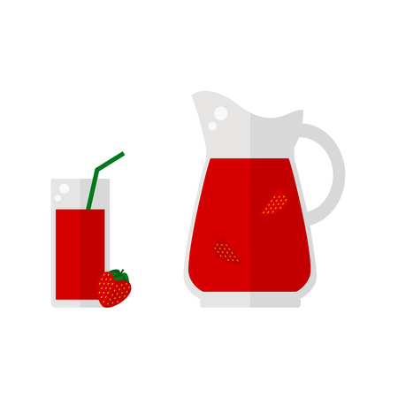 Strawberry juice icon isolated on white background. Glass with straw, pitcher and strawberry fruit. Refreshing drink. Flat vector illustration design.