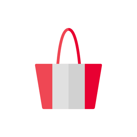 白い背景の分離のアイコンをバッグします。女性のバッグ。フラット ベクトル イラスト デザイン。