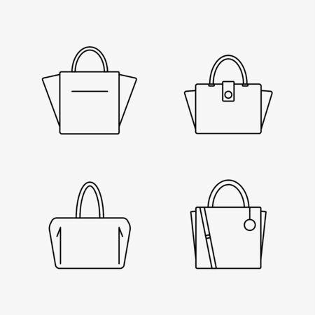 バッグのアイコンが白い背景で隔離。女性のバッグ コレクションです。フラット線ベクトル イラスト デザイン。