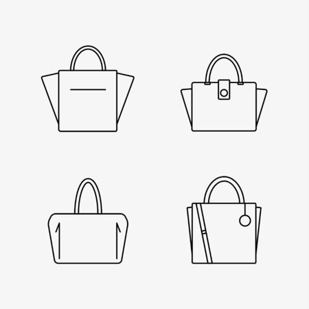 Bag icon isolated on white background. Women bags collection. Flat line vector illustration design.