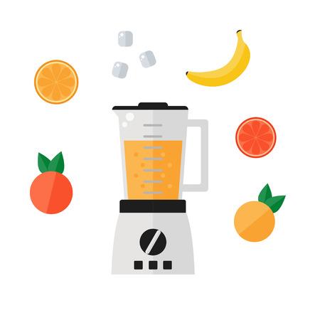 Blender icon isolated on white background. Food processor icon with smoothie fruits. Orange, grapefruit, banana, ice, mixer. Flat vector illustration design. Ilustracja