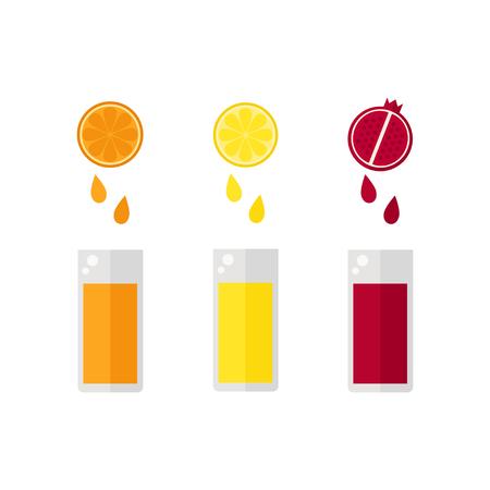 Juice isolated icon on white background. Fruit juice drops into glasses .. Orange, lemon, pomegranate. Flat vector illustration. Ilustracja