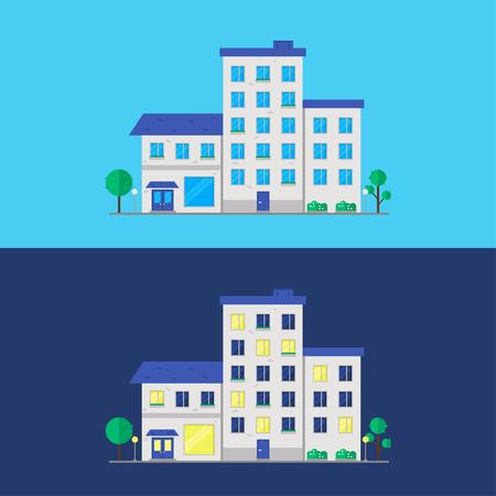 白い背景で隔離の家。都市住宅。市コンス トラクターのアイコン。フラット ベクトル イラスト デザイン。