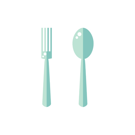 Fork and spoon icon isolated on white background. Kitchenware tools. Flat vector illustration design.