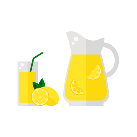 Lemonade juice icon isolated on white background. Glass with straw, pitcher and lemon fruit. Refreshing drink. Flat vector illustration design. Ilustração