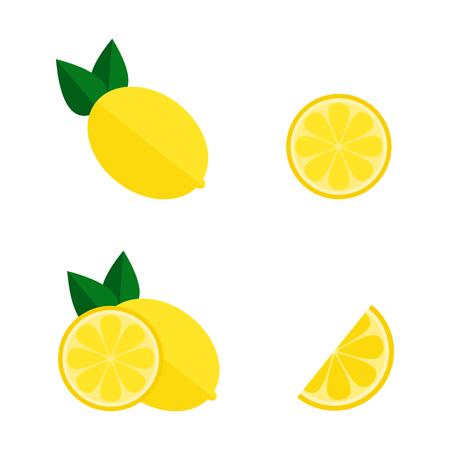 Lemon icon isolated on white background. Whole and cut lemon set. Tropic fruit. Flat vector illustration design.