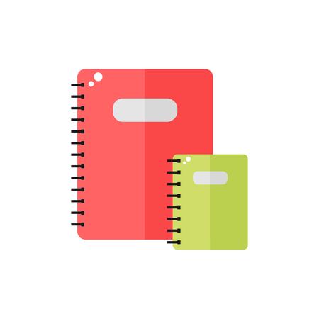 ノートブックのアイコンは、白い背景で隔離。教育、ビジネス ツール。フラットのベクター イラストをデザイン。