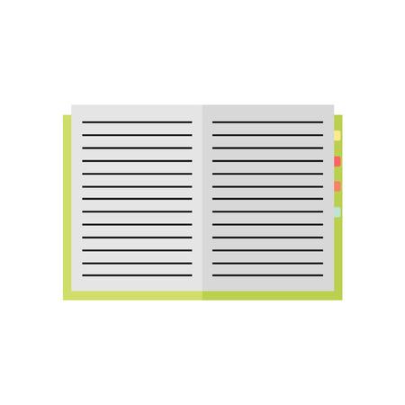 ノートブックのアイコンは、白い背景で隔離。ノートブックを開く。教育、ビジネス ツール。フラットのベクター イラストをデザイン。