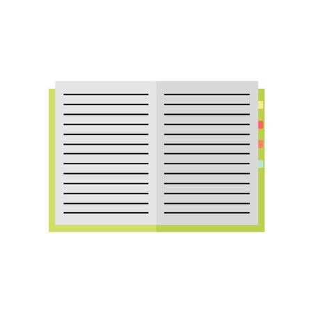 Notebook icon isolated on white background. Open notebook. Education, business tool. Flat vector design illustration.