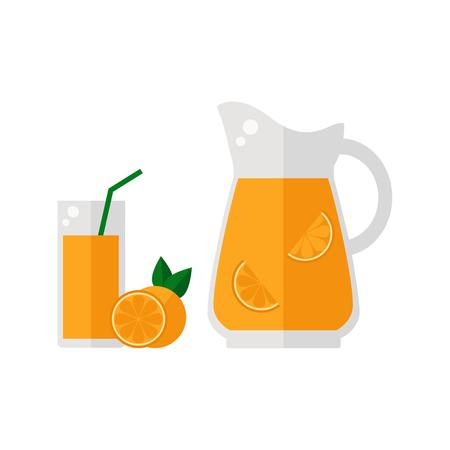 Orange juice icon isolated on white background. Glass with straw, pitcher and orange fruit. Refreshing drink. Flat vector illustration design. Ilustracja