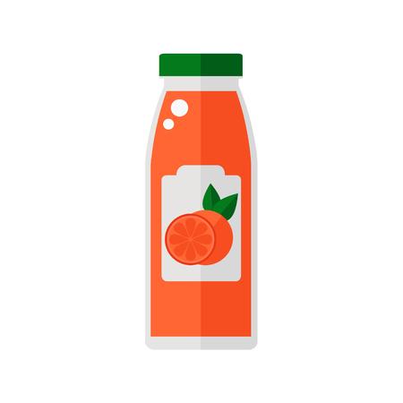 白い背景に分離されたジュースのボトル。グレープ フルーツ ジュースのアイコン。フラット スタイルのベクトル図です。  イラスト・ベクター素材