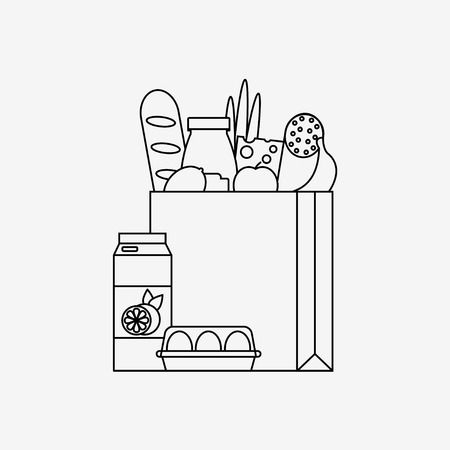 食料品袋のアイコンが白い背景で隔離。新鮮な食材と紙バッグです。スーパー マーケットの概念です。フラット ライン スタイルのベクトル イラス  イラスト・ベクター素材