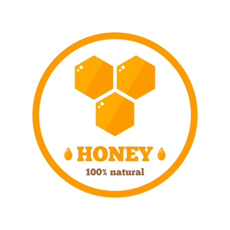 Honey label on background. Cartoon label. Honey product tag for apiary or beekeeping industry. Flat style vector illustration.