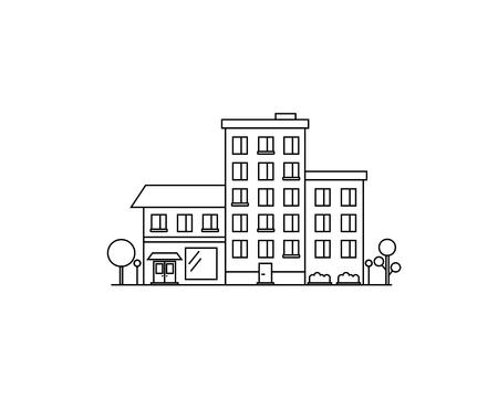 白い背景で隔離の家。都市住宅。市コンス トラクターのアイコン。フラット線ベクトル イラスト デザイン。