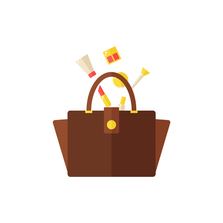 Bag with cosmetics isolated icon on white background. Women bag. Inside the bag. Lipstick, nail polish, hand cream, eyeshadow, makeup brush, mirror. Flat vector illustration design.