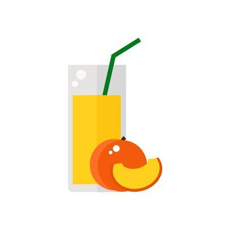 桃の果汁には、白い背景で隔離されたアイコン。尿細管とジュースのガラス。フラット スタイルのベクトル図です。
