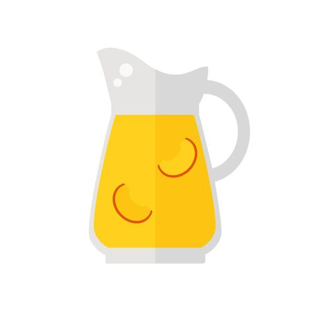 白い背景の上の桃ジュース水差し分離アイコン。健康的な飲み物です。フラット スタイルのベクトル図です。