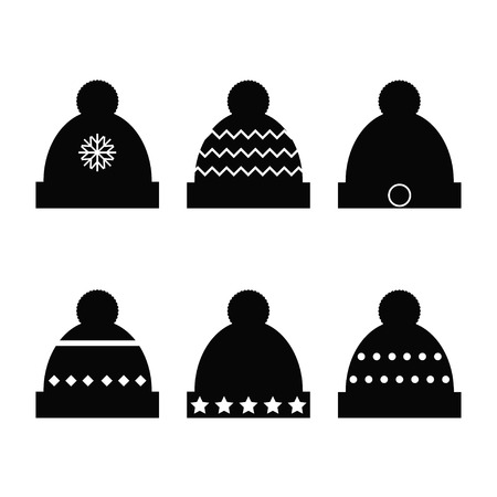 Winter hats black silhouette on white background collection. Flat vector illustration design. Illustration