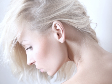 Delicate beauty portrait of blonde attractive woman. photo