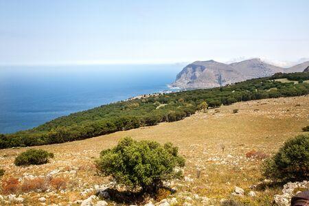 erice: Beautiful landscape of Erice on Sicily, Italy. Summer sunny day.