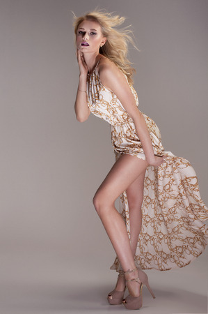 dress blowing in the wind: Beautiful blonde woman posing in studio , wearing fashionable maxi dress, looking at camera. Elegant style.