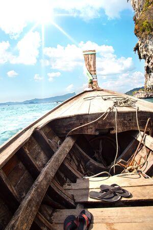 long tail: Traditional long tail boats, Andaman Sea, Thailand. Landscape.