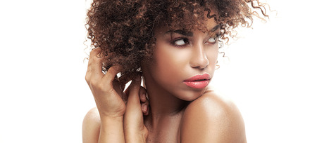nude black woman: Beauty closeup portait of young  african american girl with afro. Ideal skin.