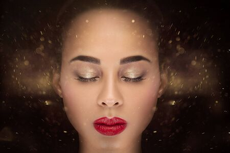 african american woman: Conceptual photo of young african american woman with glamour makeup.