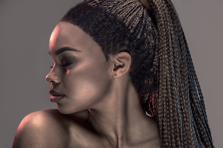 Portrait of beautiful young african girl with braids, studio shot.