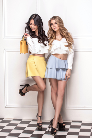 Attractive beautiful girlfriends posing in fashionable clothes, smiling. Two adorable ladies with sexy legs.