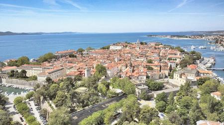 Aerial shot of Zadar, coastline, Croatia.
