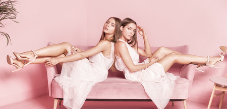 Fashionable young beautiful twins models posing in elegant dresses, sitting on pink couch close together.