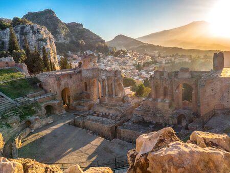 Landscape of the ancient theatre of Taormina. Greek theatre and Etna volcano, southern Italy.
