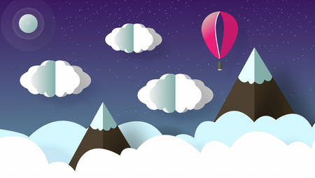 Paper art origami , beautiful landscape of mountains with snow, clouds and flying balloon. Sky with a lot of stars at night.