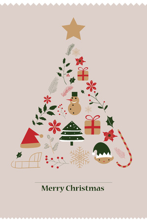 Merry Christmas card with conceptual christmas tree.