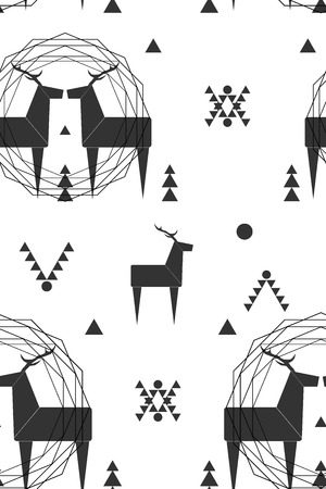 Reindeers illustration. Background with graphic animals.
