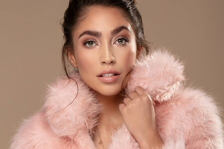 Beauty portrait of elegant young brunette girl wearing pink eco fur, looking at camera. Attractive woman in delicate glamour makeup. Stok Fotoğraf