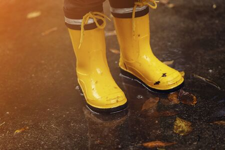 Pair of yellow gum boots in a puddle. Fall fun and walk concept.