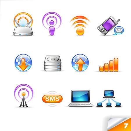 wireless network: Icon Set 7 Wireless & Network Vectores