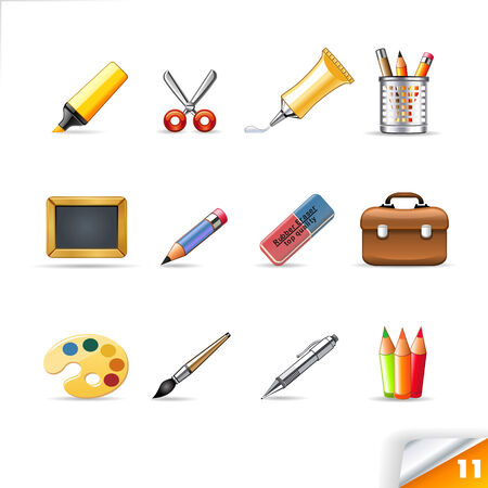 schulranzen: Icon-Set 11 School Versorgung Illustration