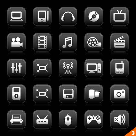 luna serie de botones - conjunto 3 - multimedia Ilustración de vector