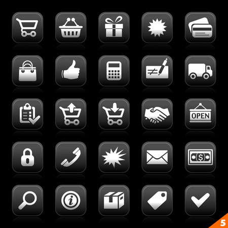 moon series buttons - set 5 - e-commerce Stock Vector - 5236792