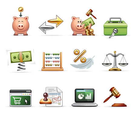 e auction: Finance, Business and Savings - Professional icon set