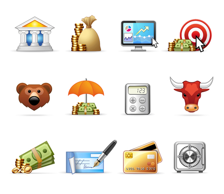 Bank and Finance - Professional icon set Illustration