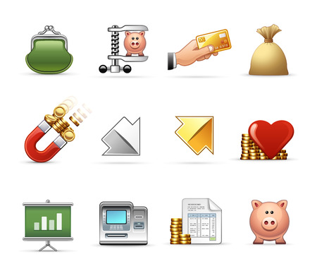 low cost: Money, Budget and Savings - Professional icon set Illustration