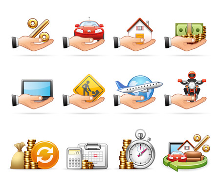 revolving: Loan and Credit - Professional icon set