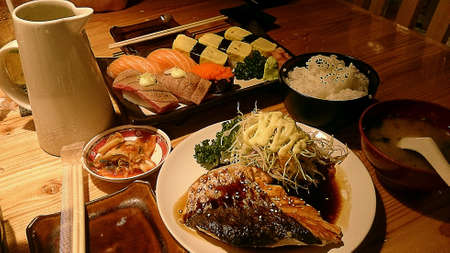 japanese food: Japanese food sushi and salmon steak