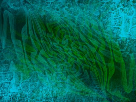 Dynamic green patterns with blue texture. Abstract background. Stockfoto